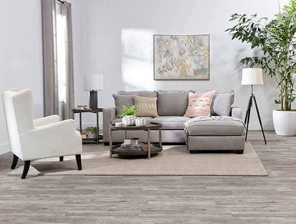 Modern Living Room With Egan Ii Cement Sofa Reversible Chaise