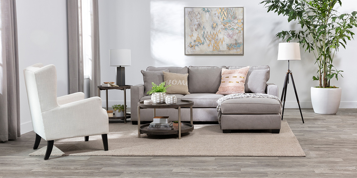 modern Living Room with Egan II Cement Sofa With Reversible Chaise
