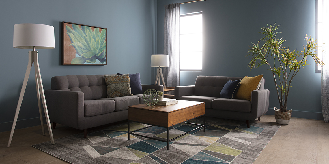 modern Living Room with Allie Dark Grey Twin Plus Sleeper Sofa