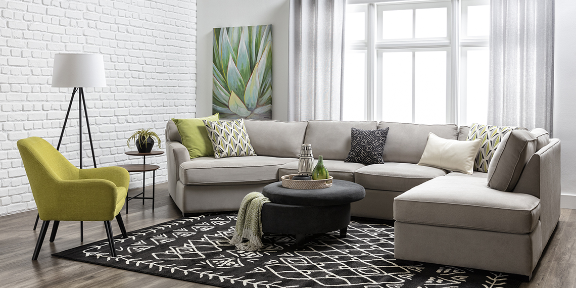 modern Living Room with Aspen Sterling Foam 3 Piece Sectional With Right Arm Facing Armless Chaise
