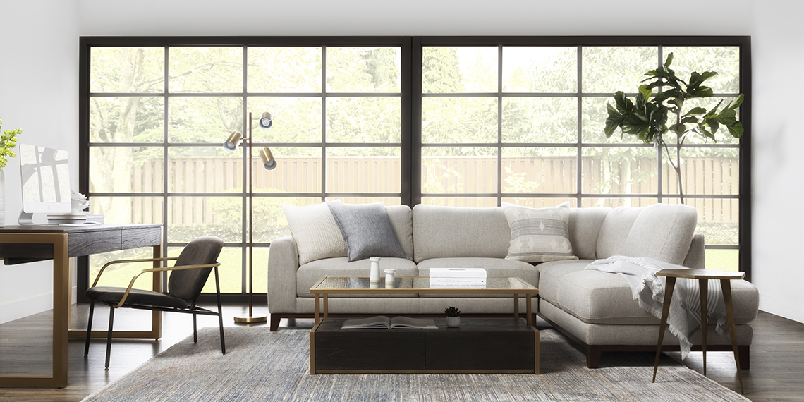modern Living Room with Amherst Cobblestone 2 Piece Sectional With Right Arm Facing Chaise