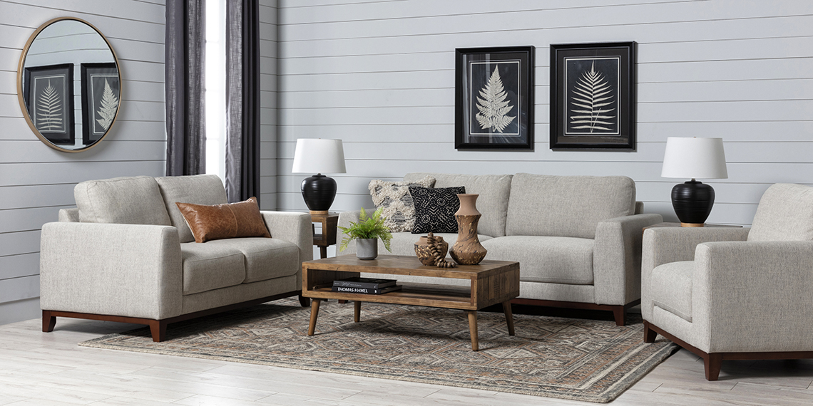 modern Living Room with Amherst Cobblestone Sofa