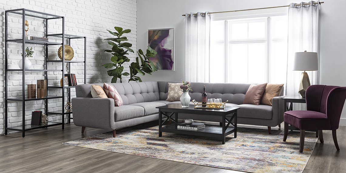 modern Living Room with Allie Dark Grey 2 Piece Sectional With Left Arm Facing Sofa