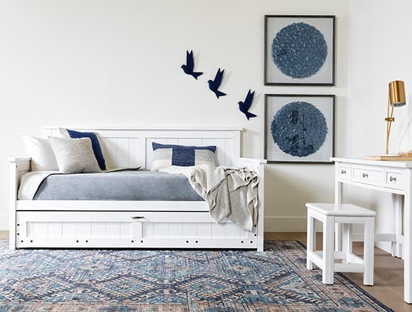 Coastal Bedroom with Mateo White Twin Daybed With Trundle