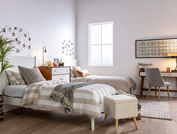 Modern Bedroom with Alton White Twin Platform Bed