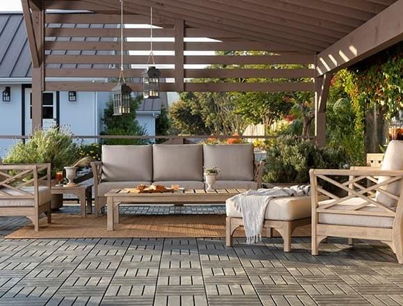 Traditional Patio & Backyard with Avignon Outdoor Sofa