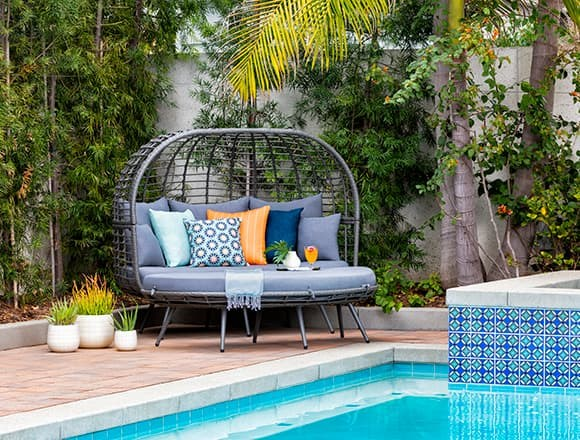 Modern Patio & Backyard with Koro Outdoor Daybed