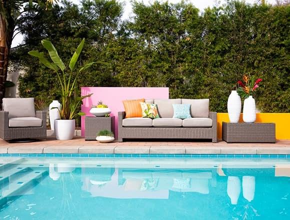 "Modern Patio & Backyard with Mojave 83"" Outdoor Sofa"