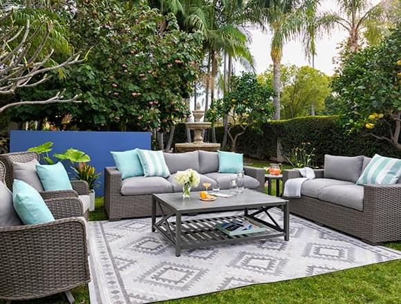 "Modern Patio & Backyard with Sanibel Outdoor Deep Seat 97"" Sofa"