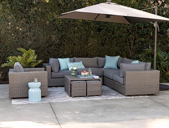 "Modern Patio & Backyard with Koro Outdoor 5 Piece 105"" Sectional With 3 Corners"