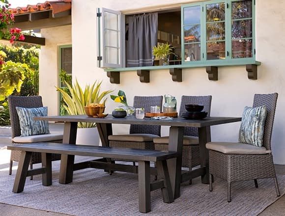 Modern Patio & Backyard with Panama Outdoor Rectangle Dining Table