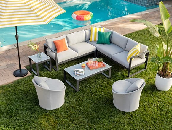 """Modern Patio & Backyard with Ravelo Outdoor 3 Piece 93"""" Sectional"""