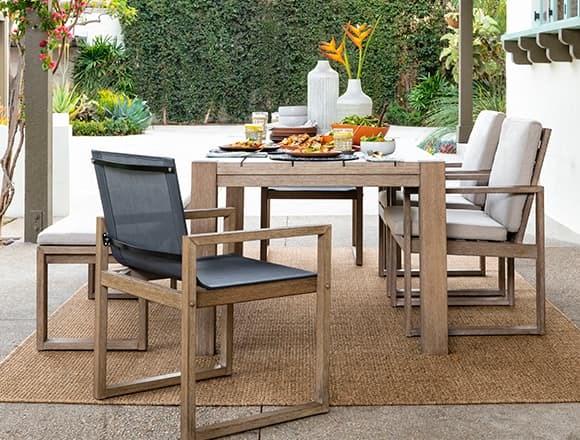Modern Patio & Backyard with Malaga Outdoor Dining Table
