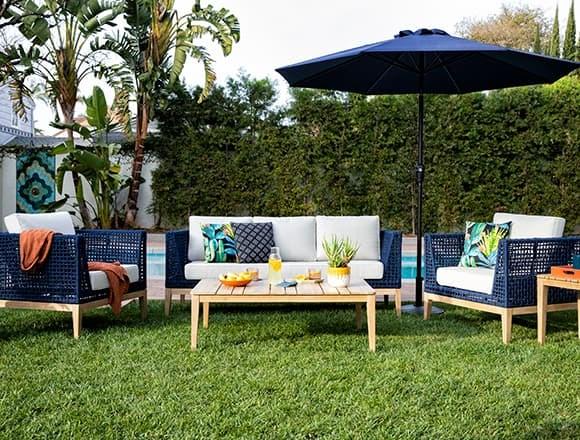 Modern Patio & Backyard with Crew Outdoor 4 Piece Lounge Set