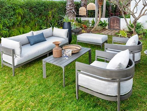 "Modern Patio & Backyard with Provence 89"" Outdoor Sofa"