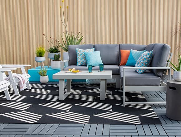 """Modern Patio & Backyard with Zane 82"""" Outdoor Sectional And Coffee Table"""