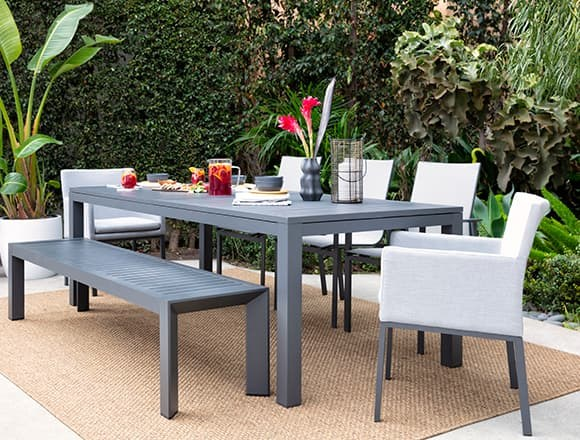Modern Patio & Backyard with Ravelo Outdoor Extension Dining Table