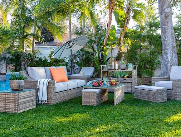 "Modern Patio & Backyard with Capri 82"" Outdoor Sofa"