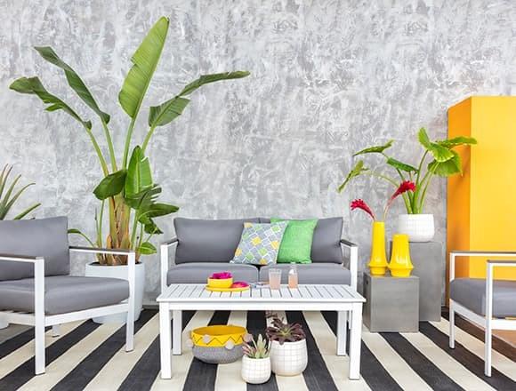 Modern Patio & Backyard with Richmond Outdoor 4 Piece Lounge Set