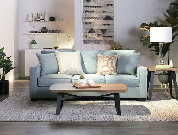 Boho Living Room with Raphael II Moonstone Sofa