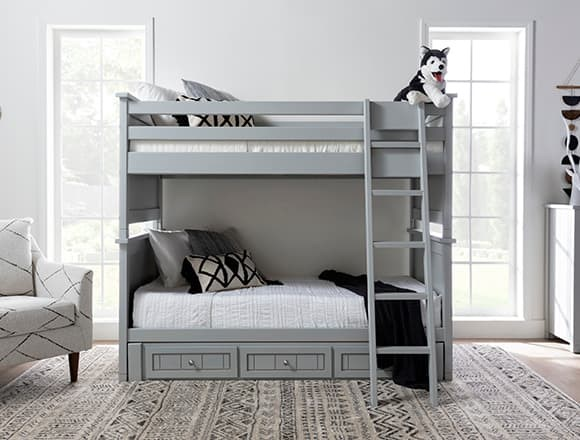 Boho Bedroom with Full Over Full Bunk Bed