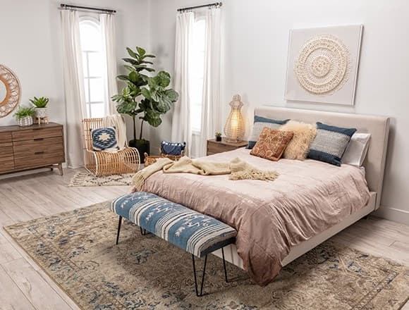 Boho Bedroom with Dean Sand Queen Upholstered Panel Bed