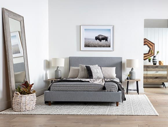Boho Bedroom with Dean Charcoal Queen Upholstered Panel Bed