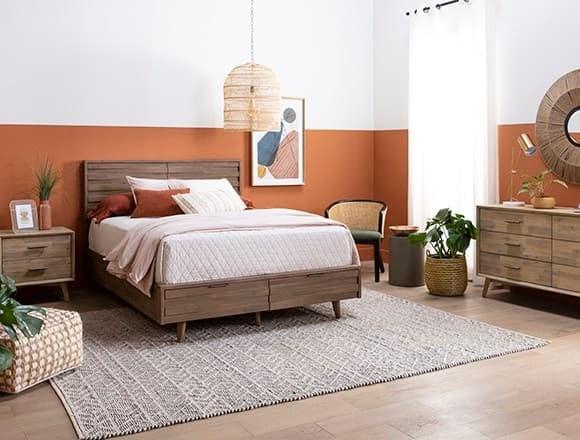 Boho Bedroom with Allen Queen Panel Bed With Storage