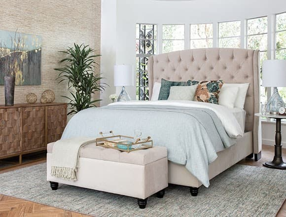Boho Bedroom with Mariah Queen Upholstered Panel Bed