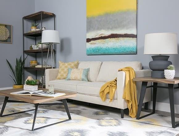 Boho Living Room with Cosmos Natural Sofa