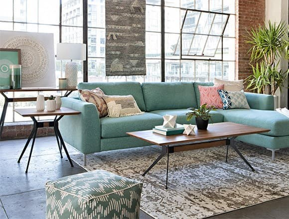 Boho Living Room with Romy 2 Piece Sectional W/Raf Chaise