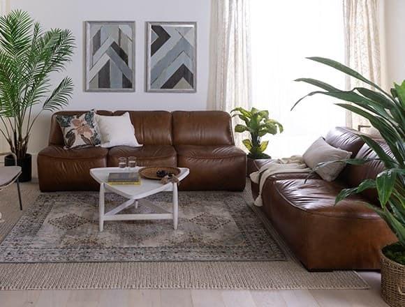 Boho Living Room with Burton Leather Armless Sofa