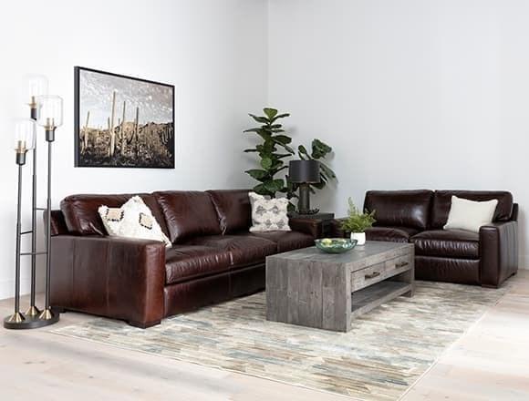 Boho Living Room with Stout Leather Sofa