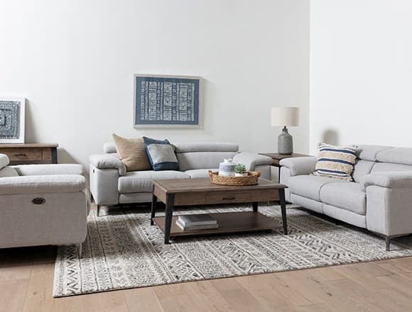 Boho Living Room with Talin Linen Power Reclining Sofa With Usb