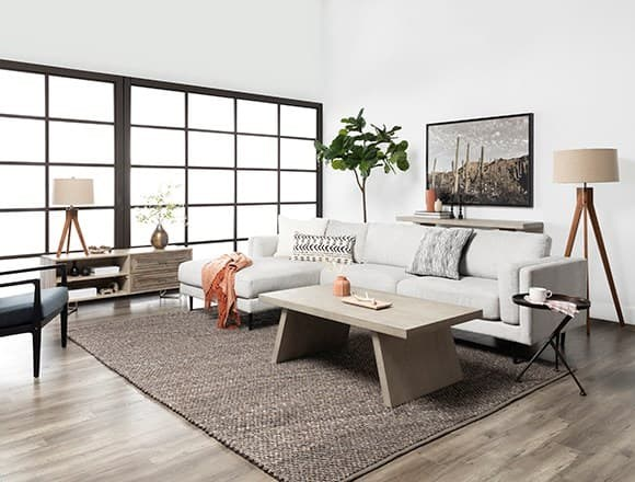 Boho Living Room with Aquarius II Light Grey 2 Piece Sectional With Right Arm Facing Chaise