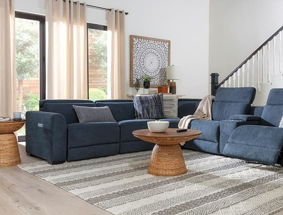 """Boho Living Room with Chanel Denim 6 Piece 132"""" Power Reclining Sectional"""