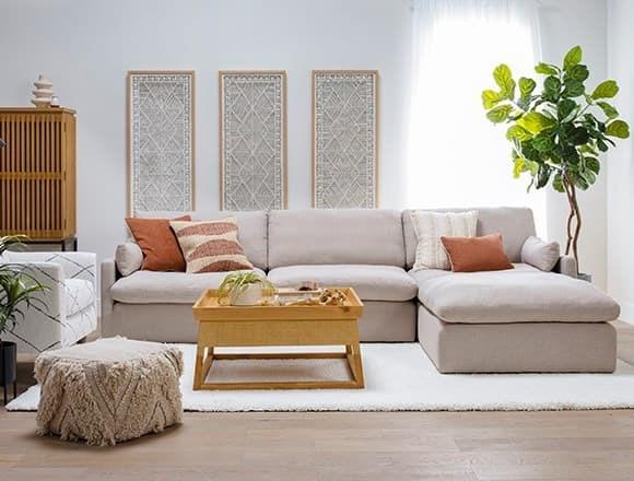 "Boho Living Room with Jil 3 Piece 131"" Sofa With Ottoman"
