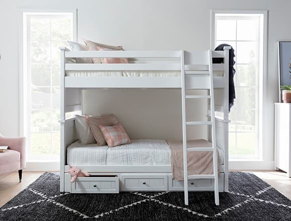 Modern Bedroom with Mateo White Twin Over Twin Bunk Bed With 3 Drawer Storage Unit