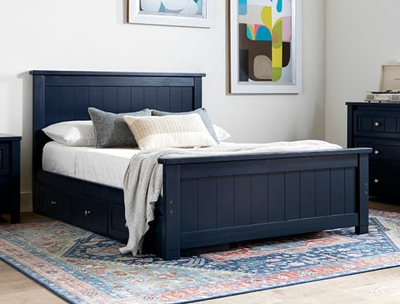 Modern Bedroom with Blue Twin Panel Bed