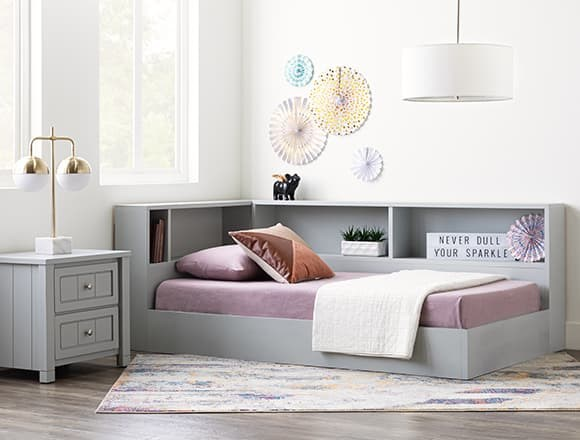 Modern Bedroom with Mateo Grey Twin Corner Bookcase Bed
