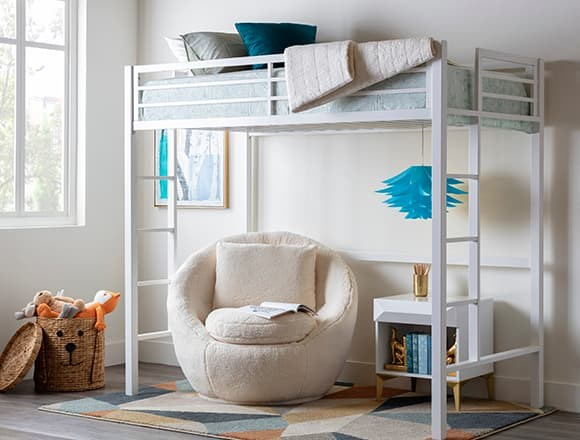 Modern Bedroom with Orson White Metal Loft Bed