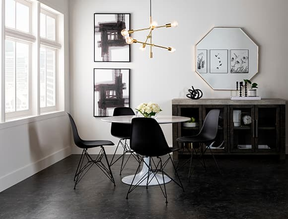 Modern Dining Room with Vera Round White Marble Dining Table
