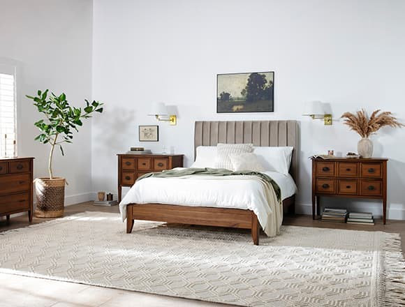 Modern Bedroom with Magnolia Home Monroe Queen Velvet Upholstered Panel Bed By Joanna Gaines
