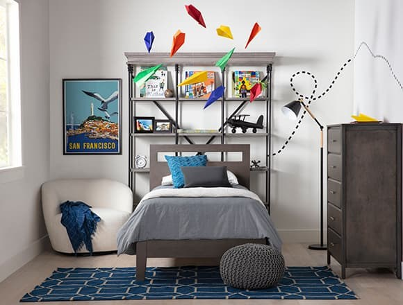 Modern Bedroom with Gaven Grey Twin Panel Bed