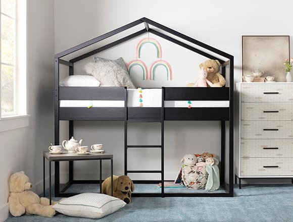 Modern Bedroom with Flannibrook Black House Twin Loft Bed