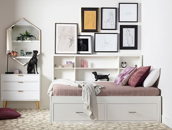 Modern Bedroom with Reese White Twin Roomsaver Bed