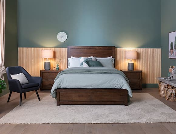 Modern Bedroomwith Riley Brownstone Queen Panel Bed With USB