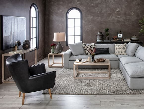 Modern Living Room with Utopia 3 Piece Sectional With Right Facing Bumper Chaise