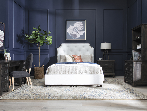 traditional Bedroom with Sophia II Queen Upholstered Panel Bed With Storage