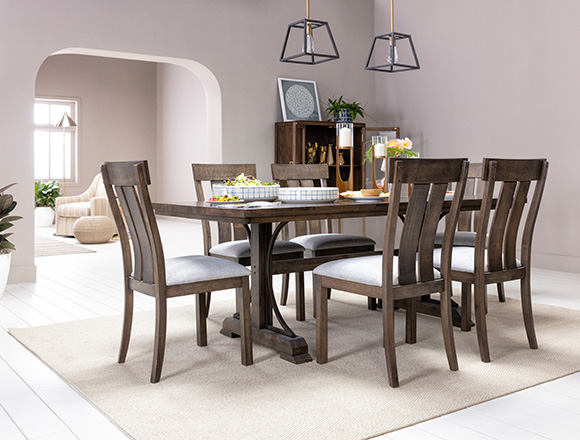 Traditional Dining Room With Delfina 7 Piece Set